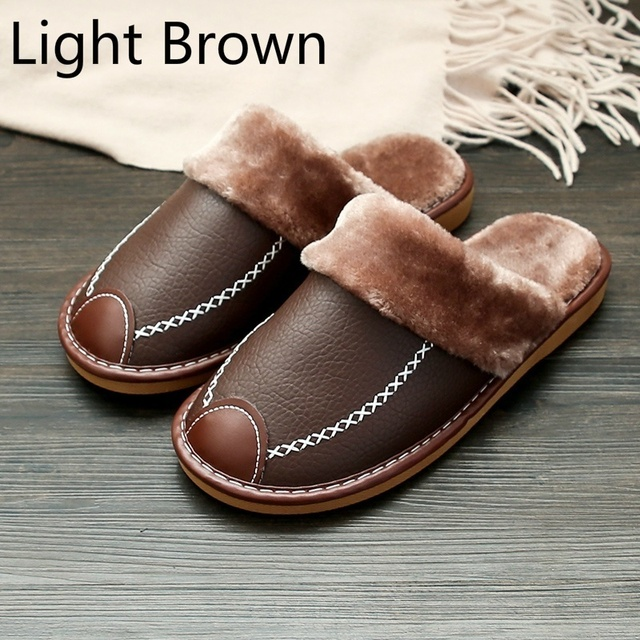 Men Slippers Black New Winter PU Leather Slippers Warm Indoor Slipper Waterproof Home House Shoes Women Warm Leather Slippers 2
