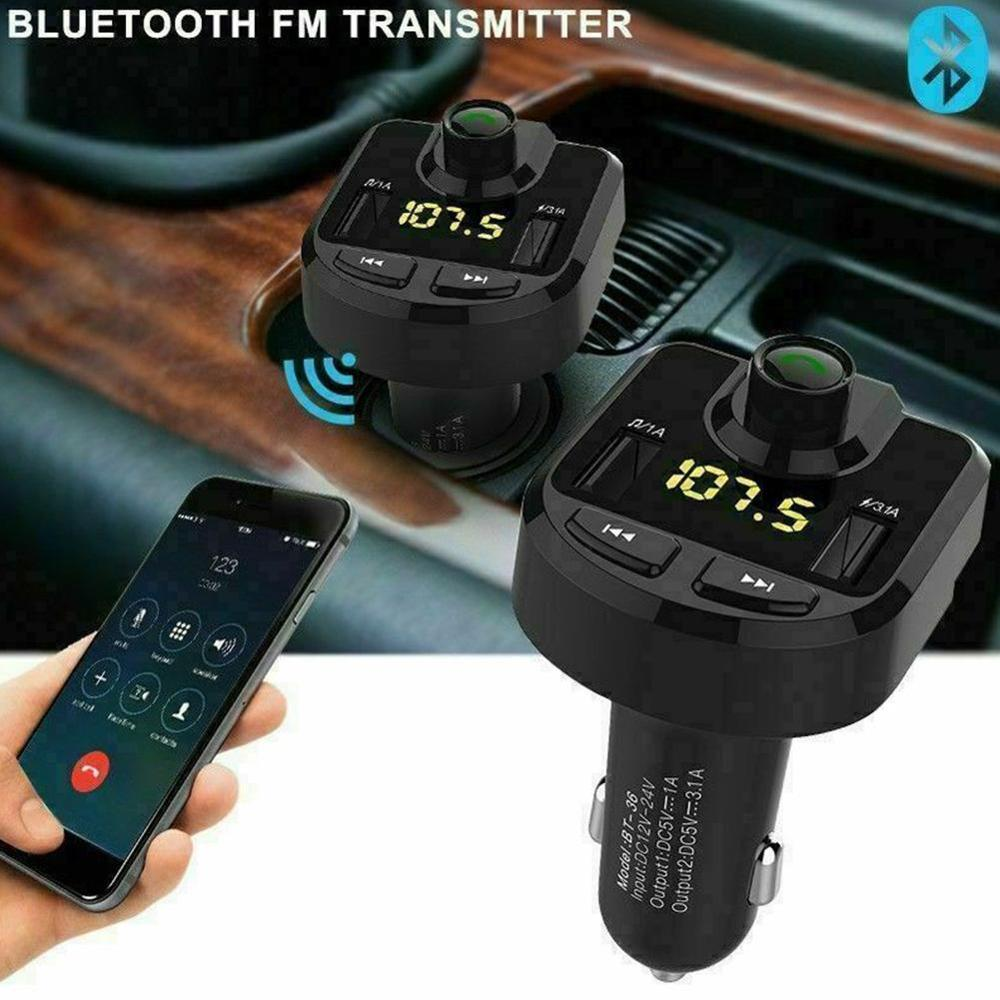 Wireless Bluetooth MP3 Player Handsfree Car Kit FM Transmitter Support TF Card U Disk 3.1A Fast Dual USB Charger Power Adapter