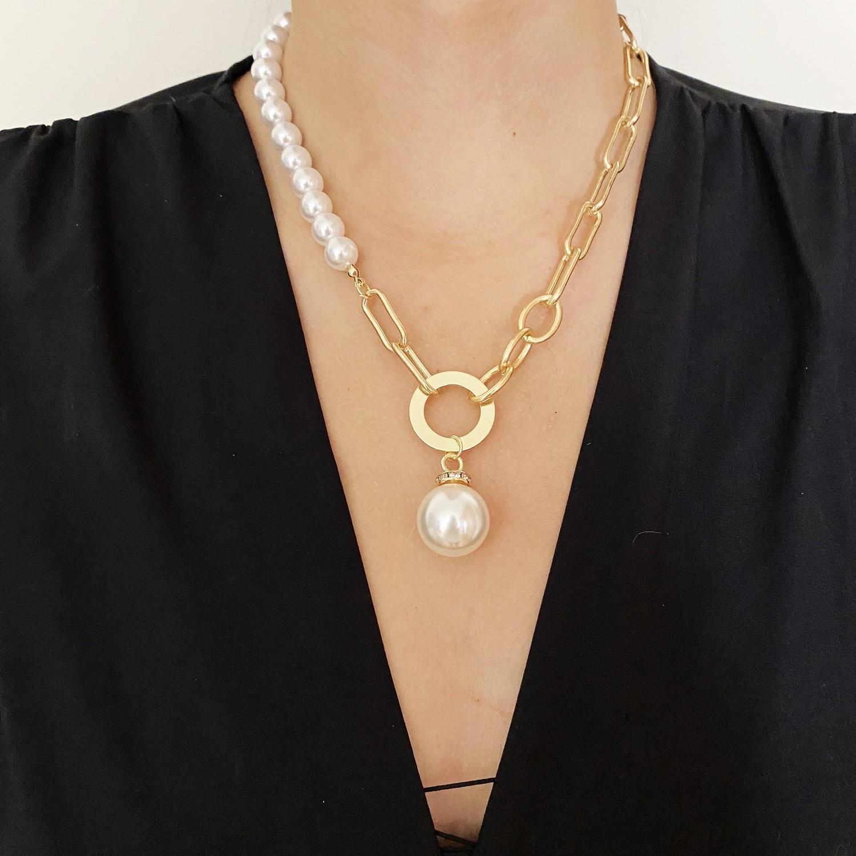 KMVEXO büyük barok inci kolye kilit kolye kolye kadınlar için Goth takı asimetrik zincirler parti düğün kolye 2021 Collier