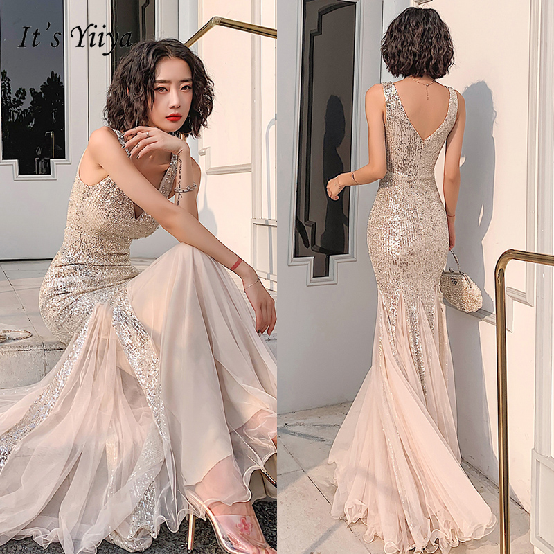 It's YiiYa Eveing Gowns For Women Sleeveless V-neck Evening Dress 2020 Mermaid Elegant Plus Size Long Robe De Soiree K115