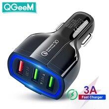 QGEEM QC 3.0 3 USB chargeur de voiture Charge rapide 3.0 3 Ports chargeur rapide pour voiture téléphone chargeur adaptateur pour iPhone Xiaomi Mi 9 Redmi