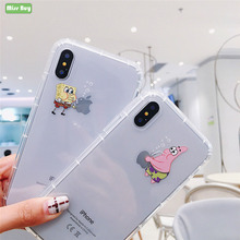 For iPhone 6 7 8 PLUS Phone case Sponge Baby Shell 6s Case Slim Soft TPU Cover X XS MAX XR Back