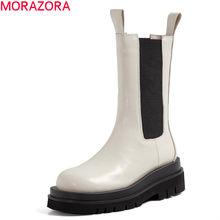Morazora tamanho 33-43 moda botas de couro genuíno mulheres grossas sola chelsea botas estilo britânico inverno plataforma ankle boots