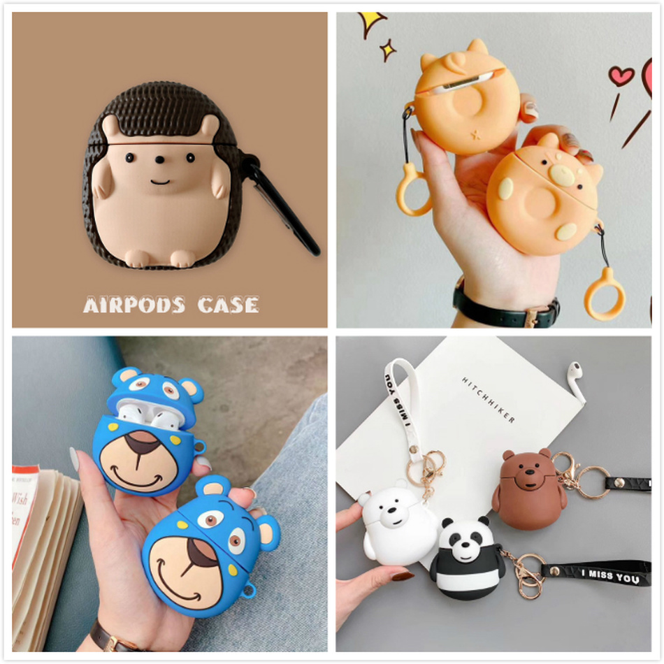 3D Cute Hedgehog Earphone Case For AirPods 2 Case Silicone Cartoon Funny Cover For Apple AirPods 1 Case Key Ring Accessories Bag