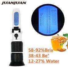 3-in-1 Handheld Honig Refraktometer für Honig Feuchtigkeit Brix und Baume Brix Skala Palette 58-90% zucker Feuchtigkeit Brechung Tester