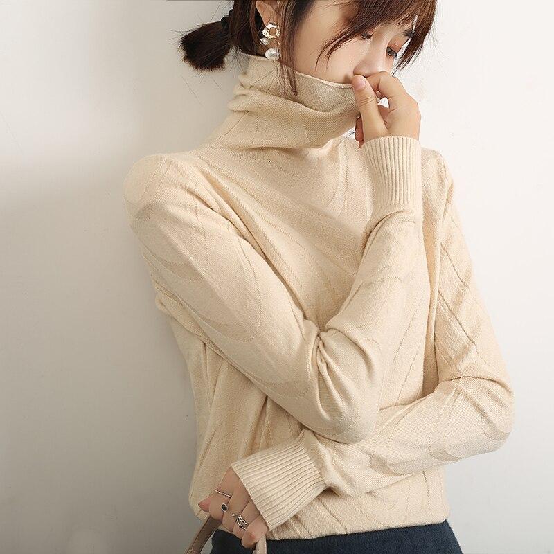 LHZSYY, осенняя новинка, Женский вязаный свитер с высоким воротом, модный однотонный тонкий пуловер с водным узором, мягкий теплый джемпер
