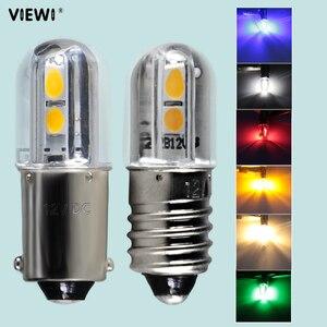 Bombilla indicadora led mini E10 T4W BA9S 1W 6V 12V 24v 36v 48V azul cálido blanco rojo luz Interior del coche bombillas de instrumentos