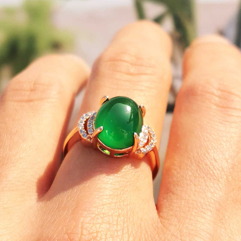 Jadery สีเขียวธรรมชาติหยกหินแหวน Rose Gold แหวนเงิน 925 สำหรับผู้หญิง Topaz อัญมณีเครื่องประดับคริสต์มาส 2019