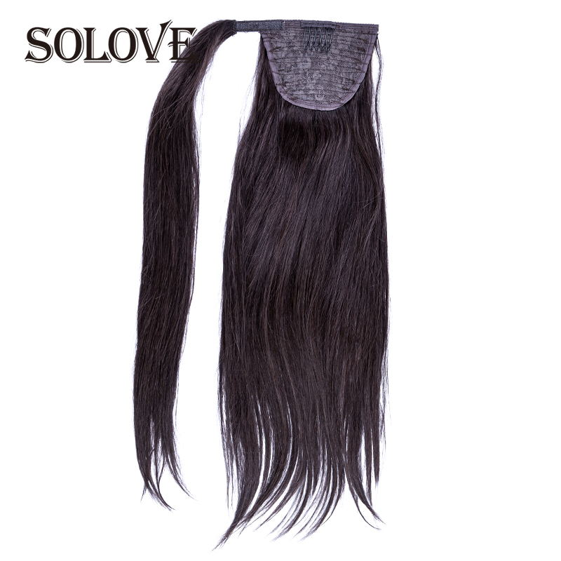 100G Ponytail Human Hair Machine Remy Straight European Ponytail Hairstyles 100% Natural Hair Clip In Extensions