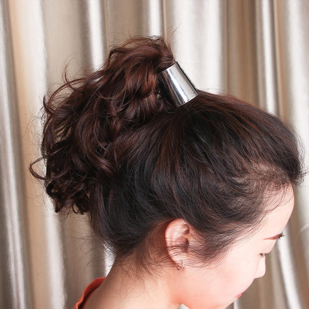 Punk Gothic Fake Metal Hair Cuff Ponytail Clip Tie Holder Hair Band ELASTIC、ÁÁ