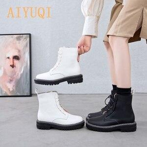 Image 1 - AIYUQI bottes femme 2020 en cuir véritable femmes chaussons à lacets blanc hiver femmes chaussures anti dérapant fille Martin bottes