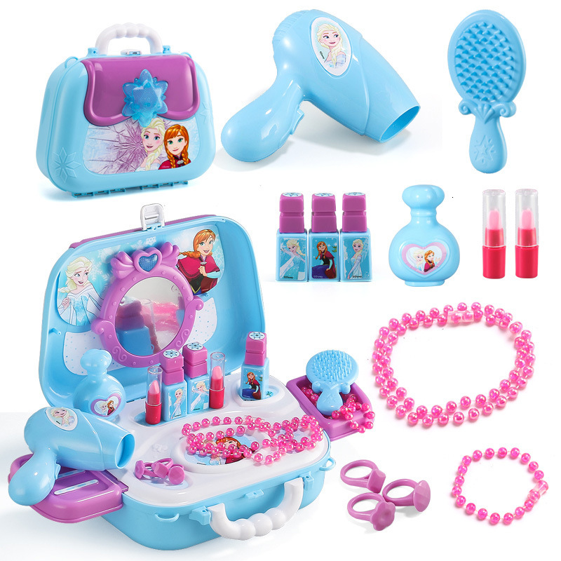 Snow Princess Elsa Anna Makeup Set Fashion 2019 Simulation Dresser Toy Beauty Pretend Play For Kids Christmas Gift Bag Model
