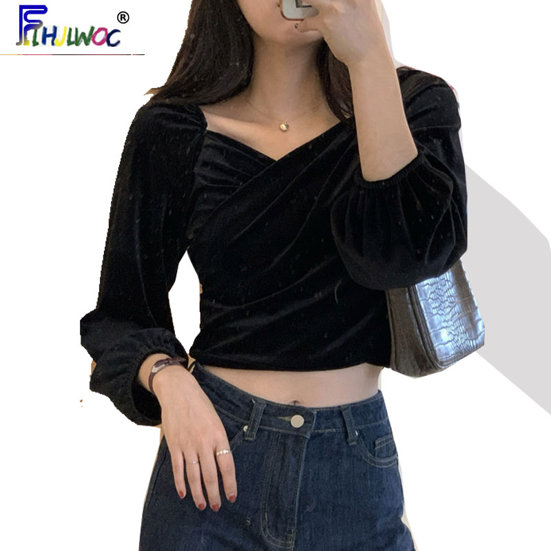 2020 Cute Short Crop Tops Women Fashion Long Sleeve Spring Design White Black Lantern Sleeve Shirts Blouses Korea Style 111