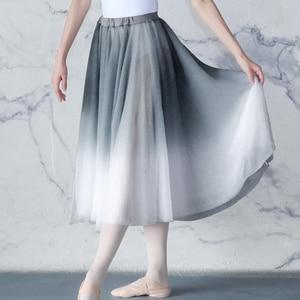 Image 4 - Kadın degrade şifon uzun elbise giyim yetişkin DanceChiffon elbise balerin dans eteği