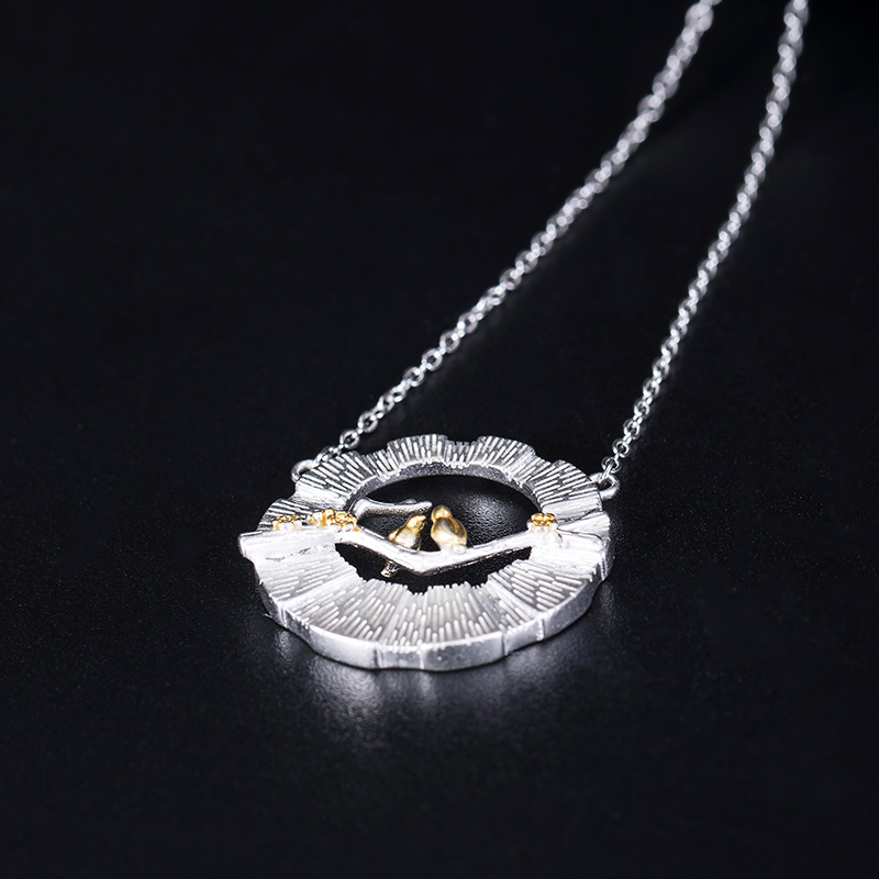 VLA 925 Silver Chinese Style Fashion Design Bird Branch Necklace Women's Personalized Hollow Round Pendant 3