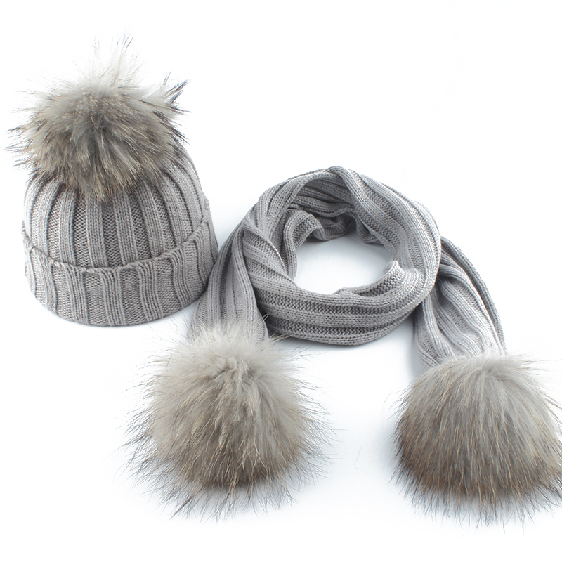 2-6 Age Children Real Fur Pompom Knitted Beanie Hats Scarves Set Suit Baby Boys Girls Hats Scarf Winter Warm 2019