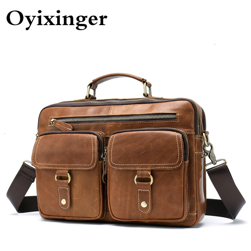 Men computer Bag Men's Genuine Leather Office Bags Men 13.3 Laptop Leather Business Briefcase Luxury Handbags for macbook air 13