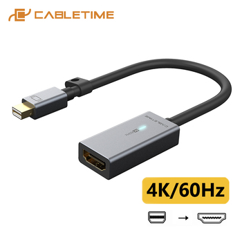цена на CABLETIME Mini DisplayPort to HDMI Adapter 4K/60Hz Thunderbolt 2 Mini DP Cable HDMI Converter for Surface Pro 6 Lenovo Dell C315