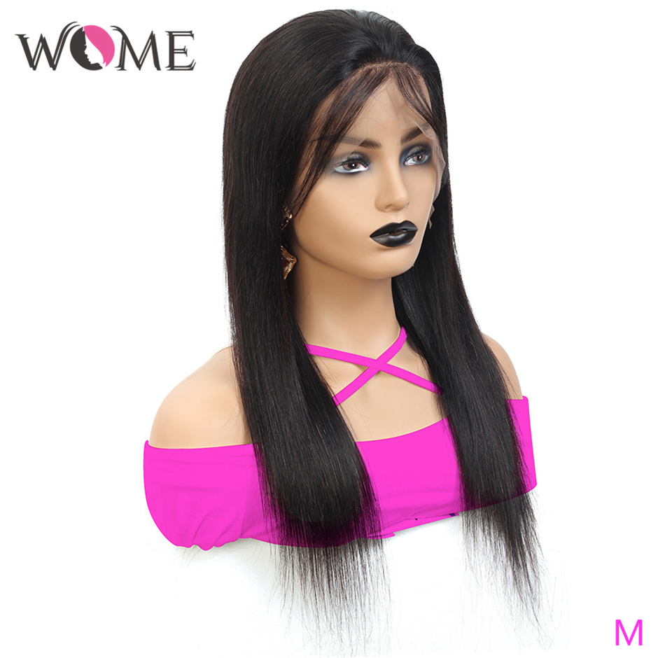 WOME Brazilian Straight Hair Wigs 13x4 Lace Front Human Hair Wigs For Black Women 150% Natural Color Pre Plucked Remy Lace Wigs