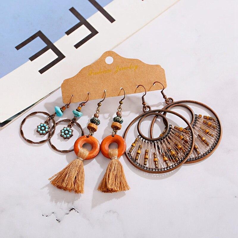 Vintage Ethnic Round Earrings Set Women's Tibetan Jewelry