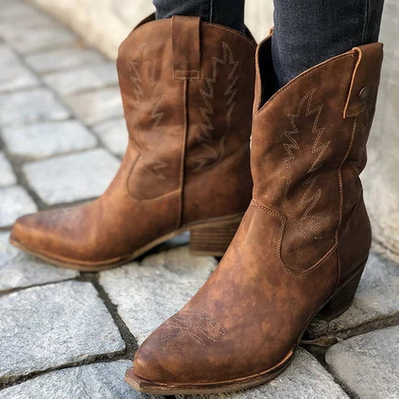 Classic Embroidered Western Cowboy Ankle Boots for Women Leather Cowgirl Boots Low Heels Shoes Chunky Heels Woman Boots Handmade