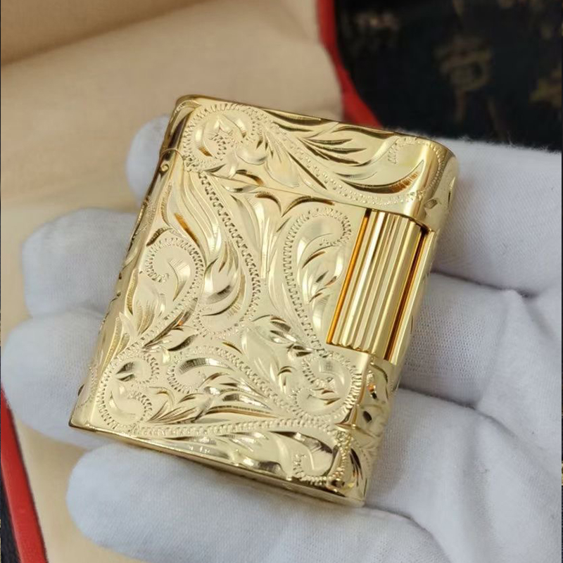 100% new vintage dupont gas lighter gas cigarette lighter polished jet gasoline flint lighter metal gas lighter