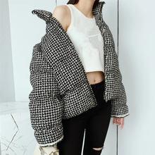 Подиумная Женская куртка пуховик 2020 модная клетчатая твидовая