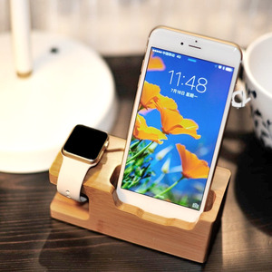 Image 5 - Besegad Bamboo Charging Charger Dock Mount Holder Station for Apple Watch iWatch Series 4 3 2 1 38/42mm iPhone 10 X 8 7 6s Plus
