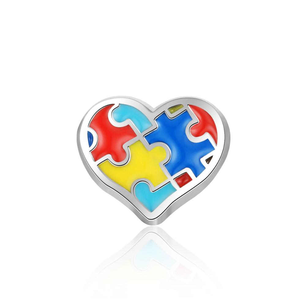 10pcs Mesinya Heart Autism Jewelry Custom Floating Elements Charms for Glass Locket(China)