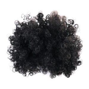 Афро Бун Джерри Curl кудрявые синтетические пушистые волосы афро Updo Scrunchie аксессуары для волос шиньон булочка конский хвост черный