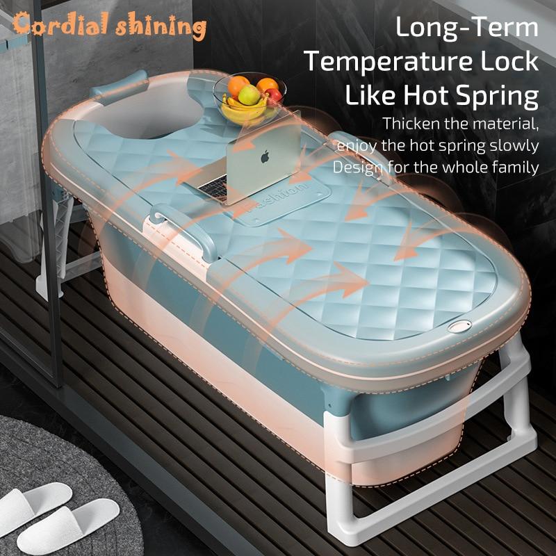 Free Shipping 1.4m Adult Bath Tub Barrel Sweat Steaming Bathtub Plastic Folding Thicken Bathtub Home Massage