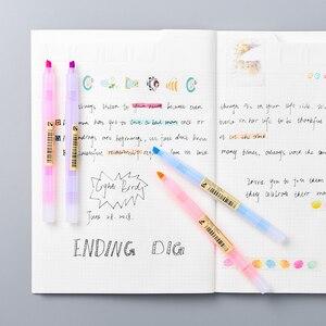 Image 4 - 40 قطعة/الوحدة ماتي نمط اللون قلم تحديد أقلام الفلورسنت تسليط الضوء على رسم بقعة بطانة بالجملة مكتب المدرسة F129