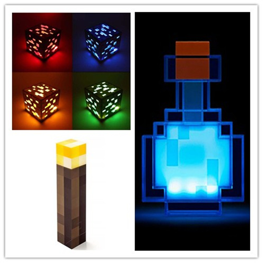 Kids Toys Color Changing Potion Bottle Light Ore Diamond Square Night Light Torch Light AAA Powered
