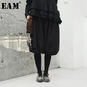 [EAM] High Elastic Waist Pleated Wide Leg Knee Length Trousers New Loose Fit Pants Women Fashion Tide Spring Summer 2020 JH416