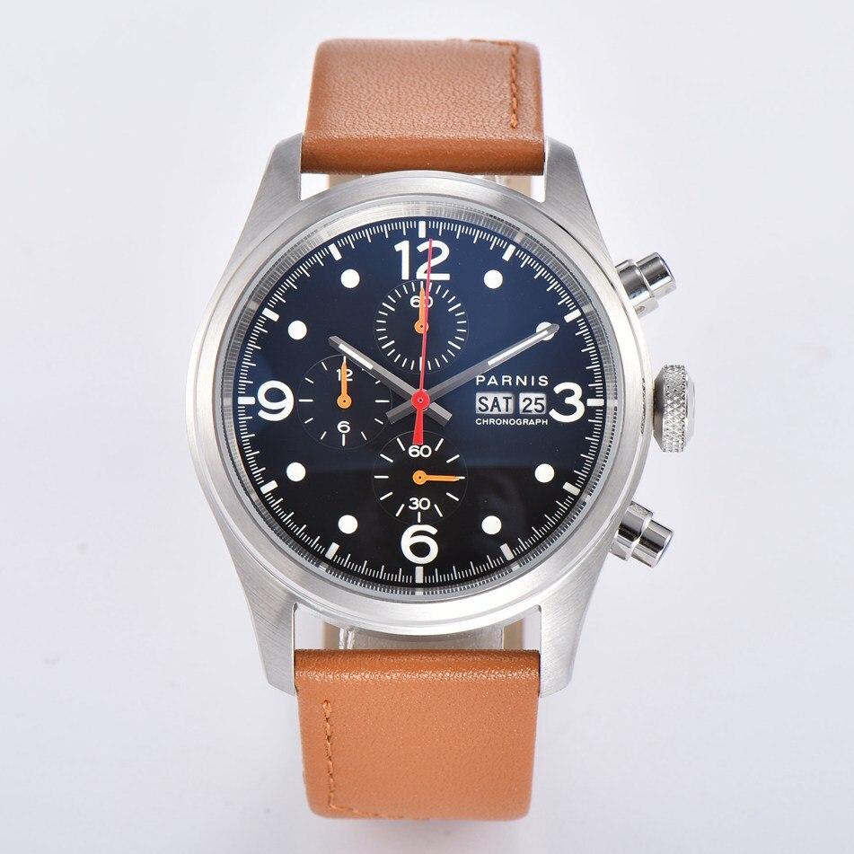 Parnis 42mm data relógio de quartzo masculino prateado caso preto dial café pulseira de couro cronógrafo completo relógio masculino