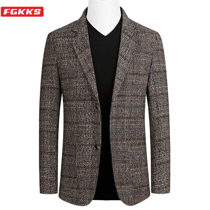 FGKKS Short Blazer Mens Plaid British Stylish Male Blazer Suit Jacket Business Casual One Button Blazer For Men Regular