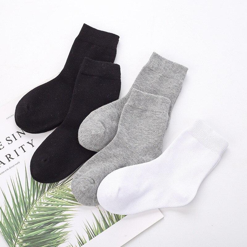 5 пар в партии, носки для мальчиков и девочек белого цвета, хлопковые мягкие детские носки, свободные удобные черно-белые носки для малышей