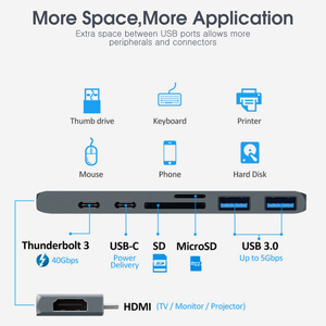 Image 3 - Vothoon USB C HUB Çok USB3.0 HDMI USB macbook için HUB Pro Hava USB Splitter 7 Port Thunderbolt 3 HUB Çift USB Tipi C HUB