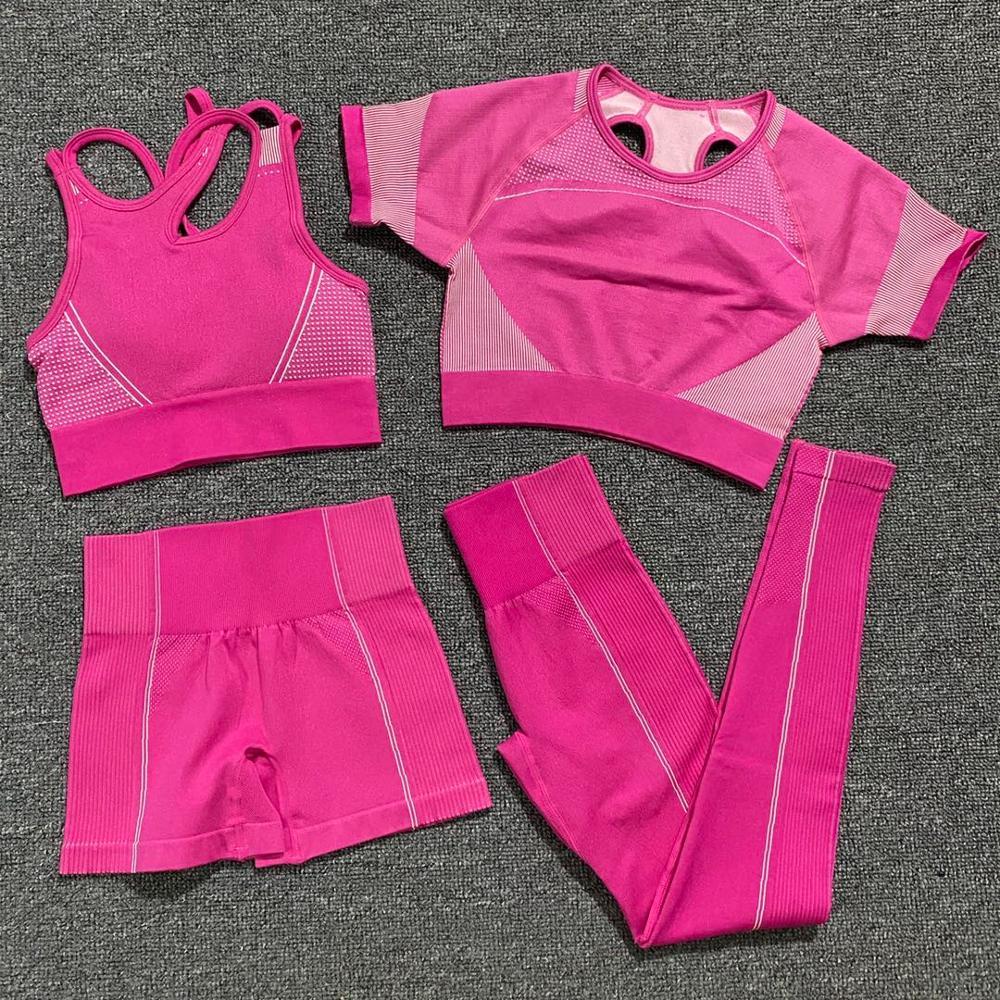 Conjunto de Yoga sem Costura Crop de Manga Curta + Sutiã Roupas de Treino Feminino Unidades Fitness Leggings Esportivas Conjunto Esportivo 4