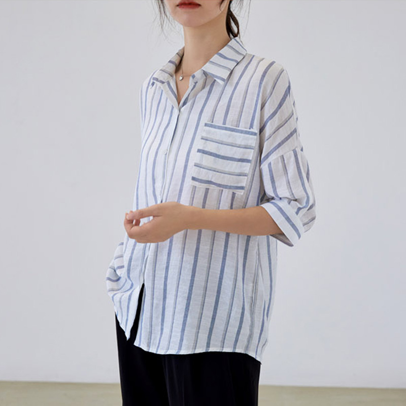 Fashion Leisure Striped Shirt Female Casual Loose Short Sleeves Turn-down Collar Office Lady Shirt Women Blouses Tops