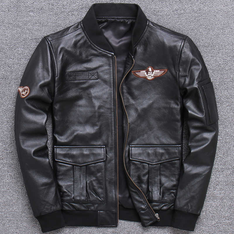 Spring Summer Flight Mans Real Cowhide Leather Jackets 5XL Motorcycle Men Cow Leather Jacket Coats European Style Overcoat A935