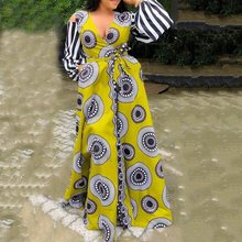 2019 Autumn Elegant Yellow Vintage Plus Size Dress Party Deep V-Neck Geometry Print Maxi Long Sleeve