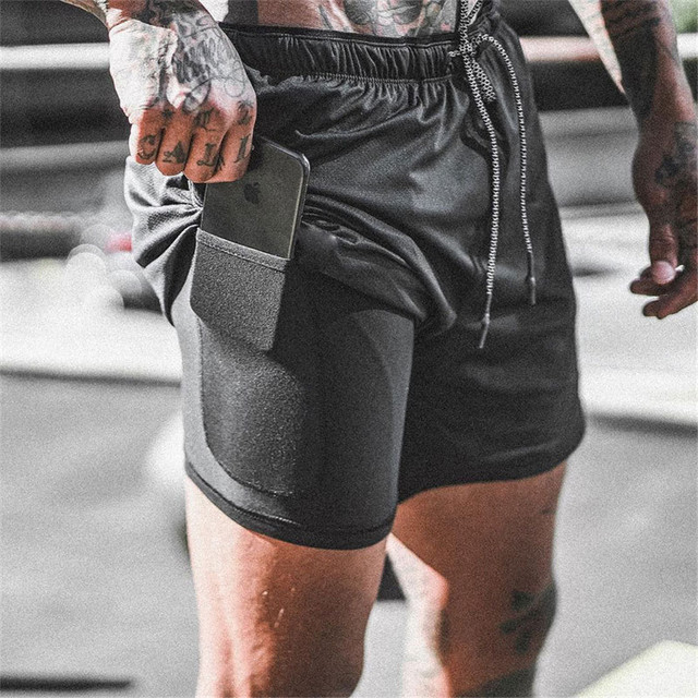 Double layer Jogger Shorts Men 2 in 1 Short Pants Gyms Fitness Built-in pocket Bermuda Quick Dry Beach Shorts Male Sweatpants