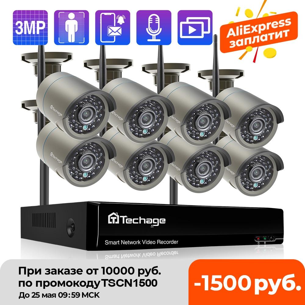 Techage H.265 8CH 3MP Wireless Video Camera System Outdoor Audio Record Wifi IP Camera P2P Security CCTV Surveillance NVR Kit Surveillance System  - AliExpress