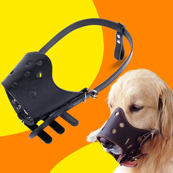 Large Dogs Muzzles PU Leather Muzzles Soft Training Pet Dog Muzzle Adjustable Breathable Mask Anti Bark Bite Chew Safety Muzzles image
