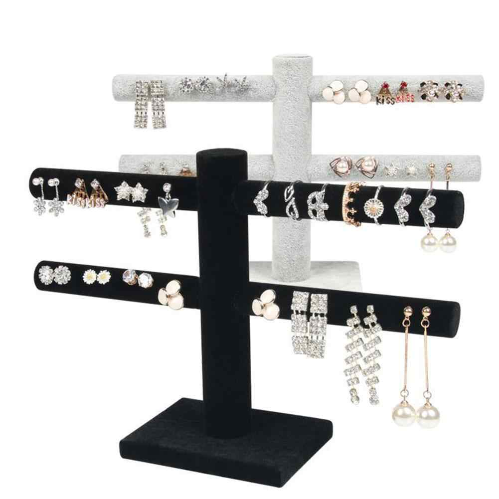 2 Tier T-Bar Velvet Jewelry Stand Earrings Necklaces Organizer Display Holder New