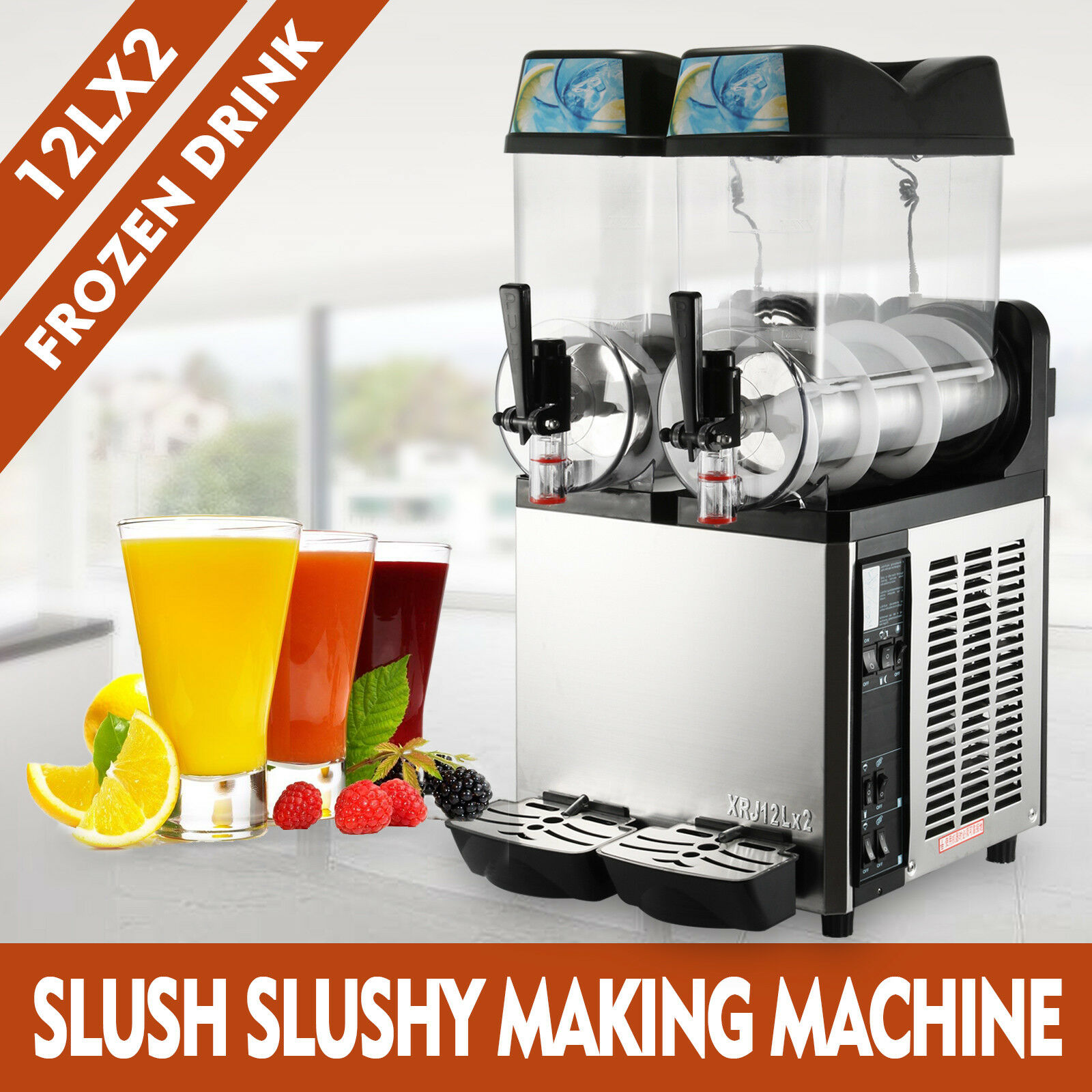 2×12L Multifunction Commercial Froze Drink Slush Low Noise And High Performance Slushy Machine Slurpee Margarita 2 Tanks