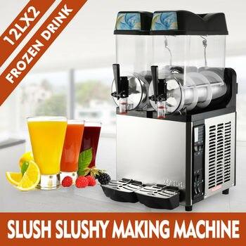 2×12L Multifunction Commercial Froze Drink Slush Low Noise and High Performance Slushy Machine Slurpee Margarita 2 Tanks