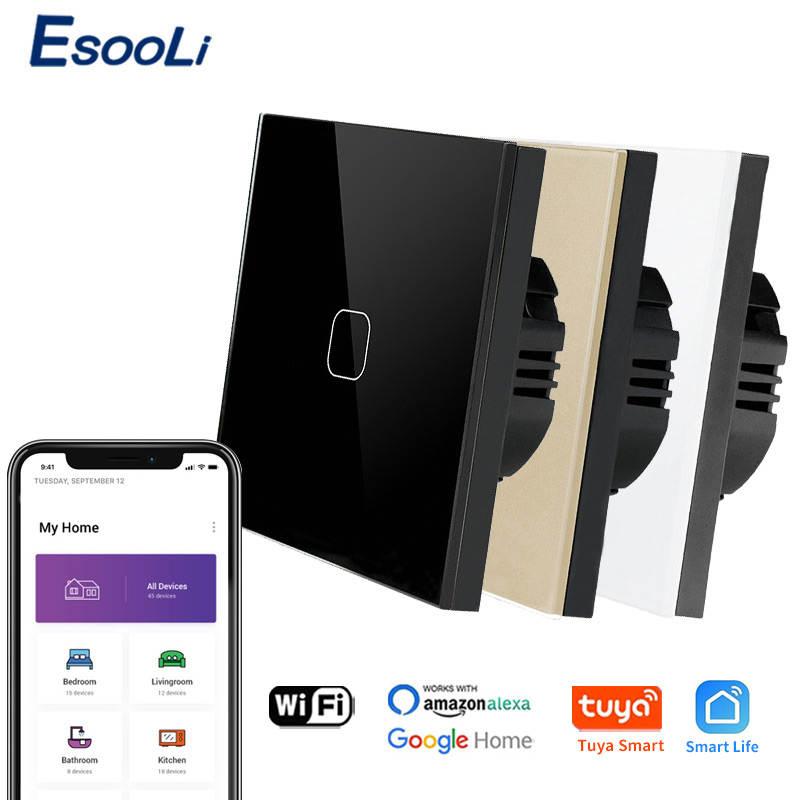 Voice-Control-Light Wall-Switch Fire-Line Tuya Smart-Life-Glass Esooli Standard Paneleu/uk