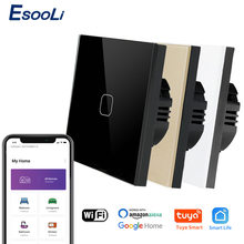 Esooli Tuya Smart Leven Glass Panel Eu/Uk Standard Touch Schakelaar Nul/Enkele Brand Lijn Voice Control Licht draadloze Wandschakelaar